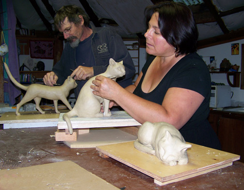 Mark and Sara sculpting cats